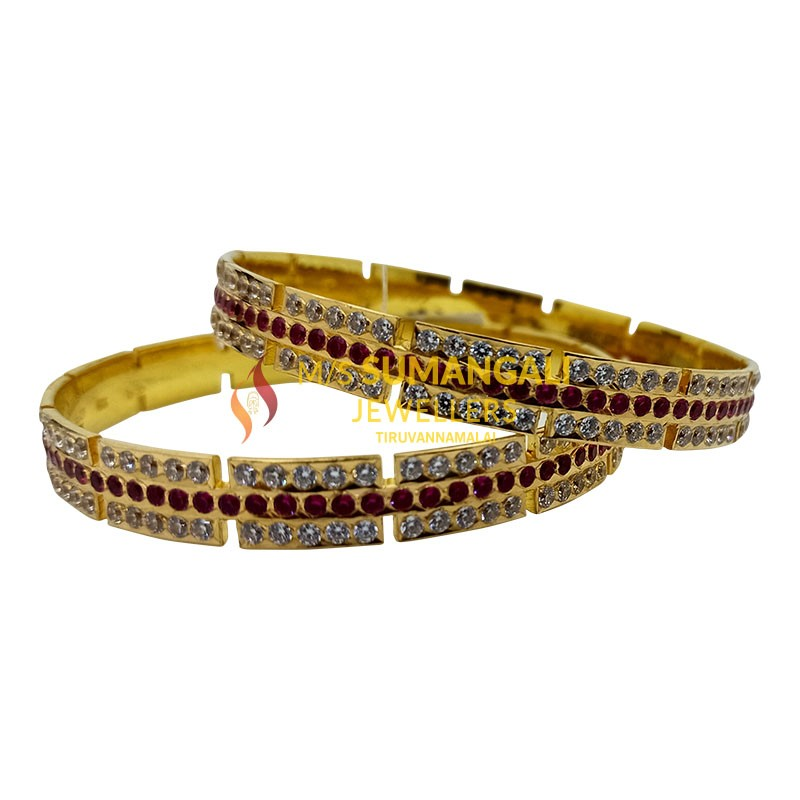Gold Bangles with Stones 1230001