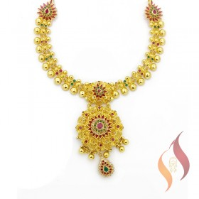 Gold Kolkata Necklace 1250020