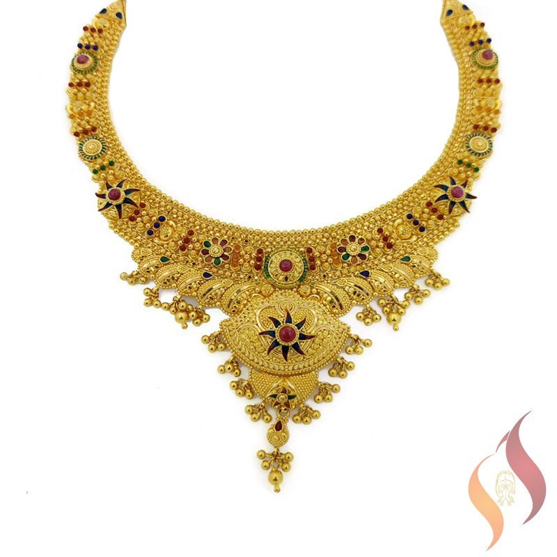 Gold Kolkata Necklace 1250030