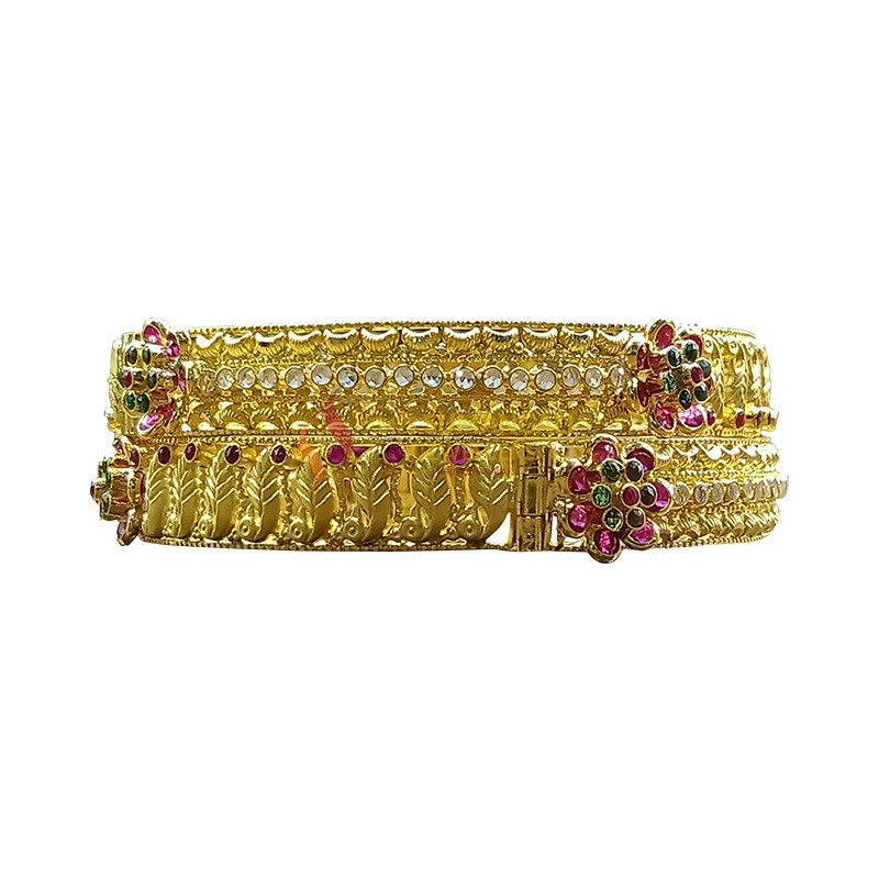 Gold-Bangles with Stones 1230005