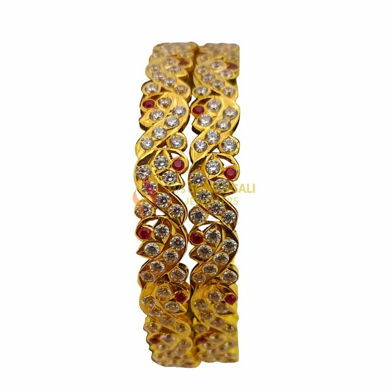 Gold Bangles with Stones 1230003